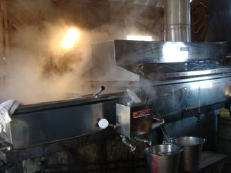 Maple syrup evaporator in operation